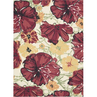 Whitby Hand-Tufted Wool Ivory/Red Area Rug Rug Size: 16 x 26