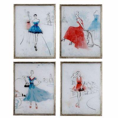 4 Piece Framed Painting Print Set HOHN3514 26995356