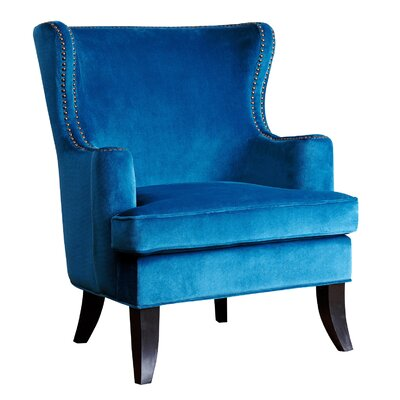 Burnard Fabric  Wingback Chair Upholstery: Blue