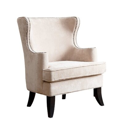 Hetton-le-Hole Fabric Nailhead Trim Wingback Chair Color: Cream