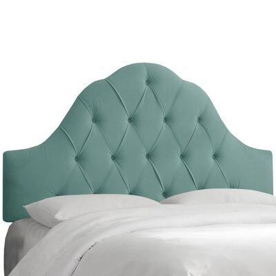 Hoddesdon Tufted Velvet Upholstered Panel Headboard Size: Queen, Upholstery: Caribbean