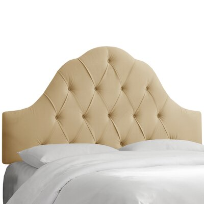 Hoddesdon Tufted Velvet Upholstered Panel Headboard Size: King, Upholstery: Buckwheat