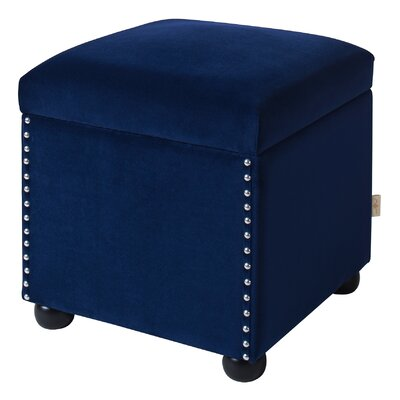 Lechlade Cube Ottoman Upholstery: Navy Blue