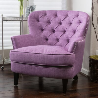 Greene Tufted Upholstered Linen Club Chair Color: Light Purple
