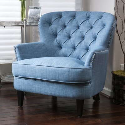 Parmelee Tufted Upholstered Linen Wing back Chair Color: Light Blue