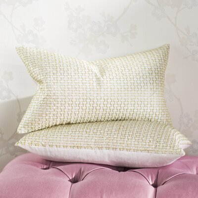 Morales Box Stitch Poly Dupion Lumbar Pillow Color: White Gold