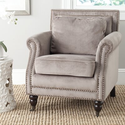 Bolt Armchair Upholstery: Mushroom Taupe, Nailhead Detail: Silver