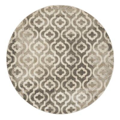 Roisin Gray/Ivory Area Rug Rug Size: Round 67 x 67