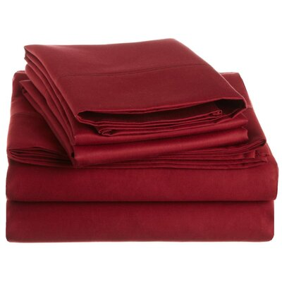 Covertt 1500 Thread Count 100% Cotton Sheet Set Color: Burgundy, Size: California King