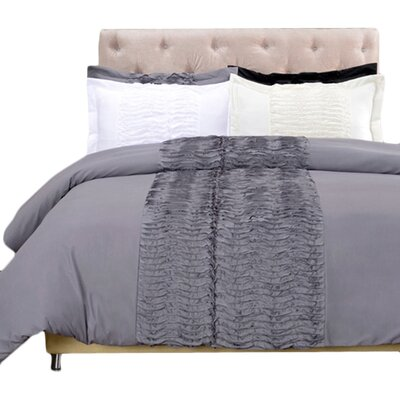 Croxley 3 Piece Reversible Duvet Cover Set Size: Full / Queen, Color: Grey