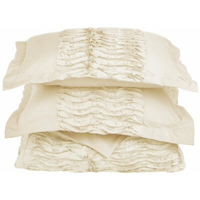 Croxley 3 Piece Reversible Duvet Cover Set Color: Ivory, Size: King / California King