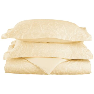 Mansfield Reversible Duvet Cover Set Color: Ivory, Size: Twin