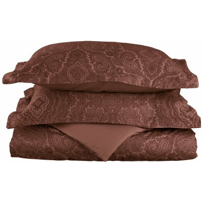 Benton Reversible Duvet Cover Set Color: Chocolate, Size: Twin