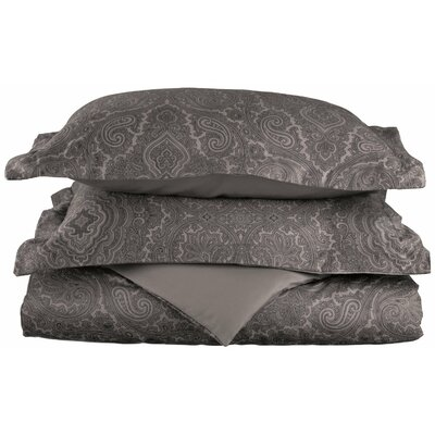 Benton Reversible Duvet Cover Set Color: Dark Grey, Size: Twin