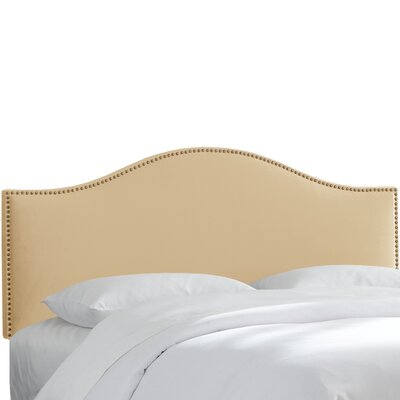 Brighton Nail Button Arc Upholstered Panel Headboard Size: Twin, Color: Buckwheat