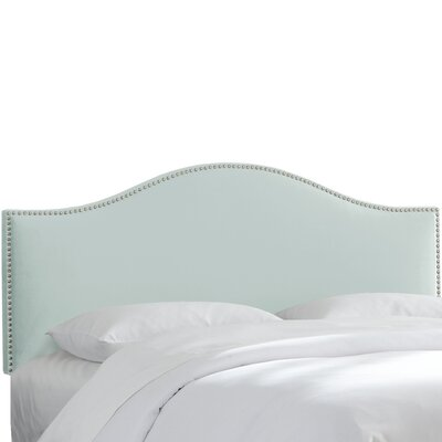 Brighton Nail Button Arc Upholstered Panel Headboard Size: Queen, Color: Pool