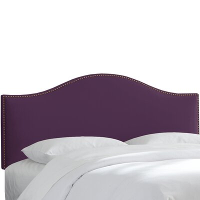 Brighton Nail Button Arc Upholstered Panel Headboard Size: Twin, Color: Aubergine
