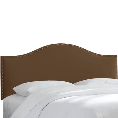 Brighton Nail Button Arc Upholstered Panel Headboard Size: King, Color: Chocolate