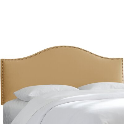 Brighton Nail Button Arc Upholstered Panel Headboard Size: King, Color: Honey