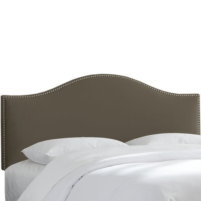 Brighton Nail Button Arc Upholstered Panel Headboard Size: California King, Color: Pewter