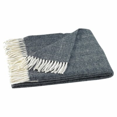 Kaya Herringbone Throw Blanket Color: Navy