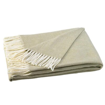 Kaya Herringbone Throw Blanket Color: White Sage