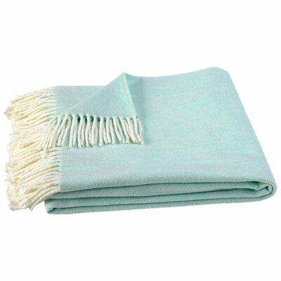 Kaya Herringbone Throw Blanket Color: Mint