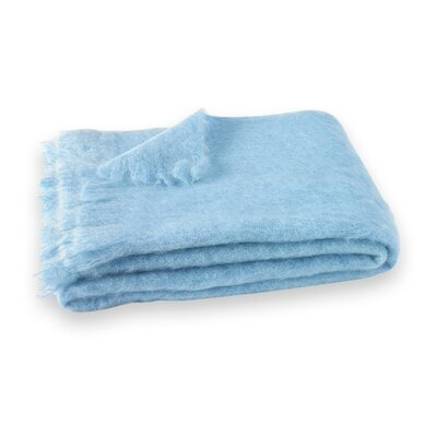 St Helens Brushed Mohair Throw Color: Sky Blue