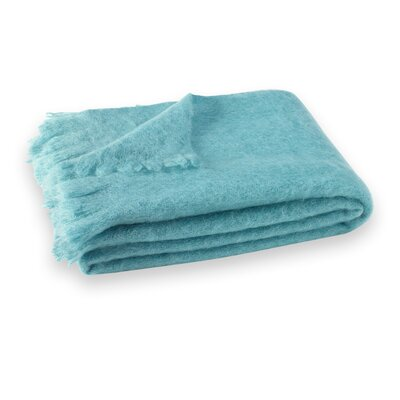 St Helens Brushed Mohair Throw Color: Sea Spray