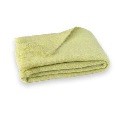 St Helens Brushed Mohair Throw Color: Honeydew