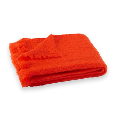 St Helens Brushed Mohair Throw Color: Hibiscus Orange