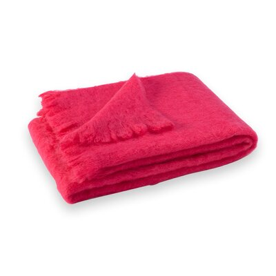 St Helens Brushed Mohair Throw Color: Hot Pink