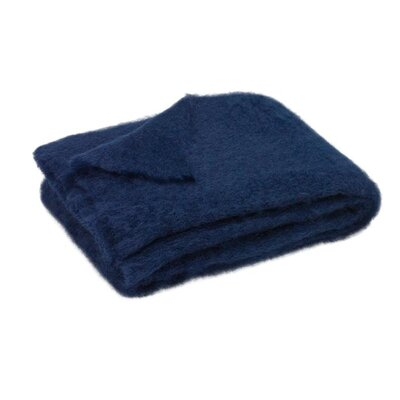 St Helens Brushed Mohair Throw Color: Navy