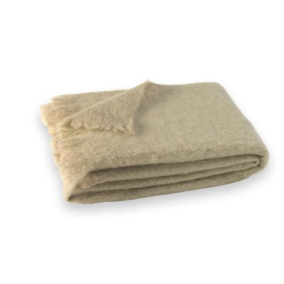 St Helens Brushed Mohair Throw Color: Flax