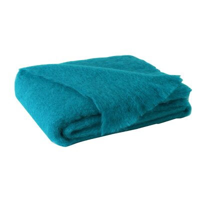 St Helens Brushed Mohair Throw Color: Turquoise