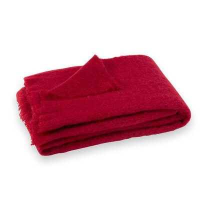 St Helens Brushed Mohair Throw Color: Cranberry