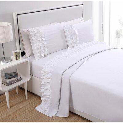 Gillingham Ruffled Sheet Set Color: White, Size: Twin