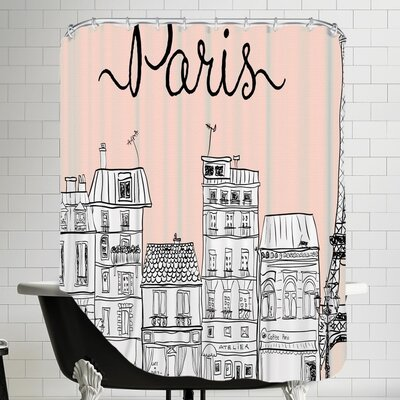 Grossular Paris Shower Curtain Color: Pink
