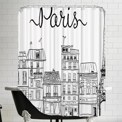Grossular Paris Shower Curtain Color: White