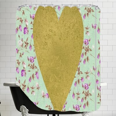 Grossular Gold Heart on Floral Shower Curtain Color: Mint