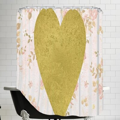 Grossular Gold Heart on Floral Shower Curtain Color: Pink