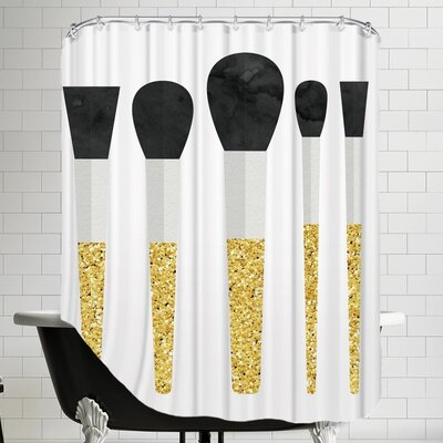 Grossular Makeup Brushes Shower Curtain Color: Gold