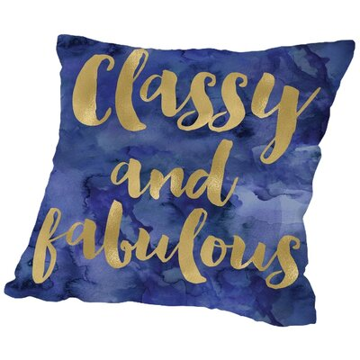 Amy Brinkman Classy Fabulous Gold Throw Pillow Color: Gold / Blue Watercolor, Size: 20 H x 20 W x 2 D