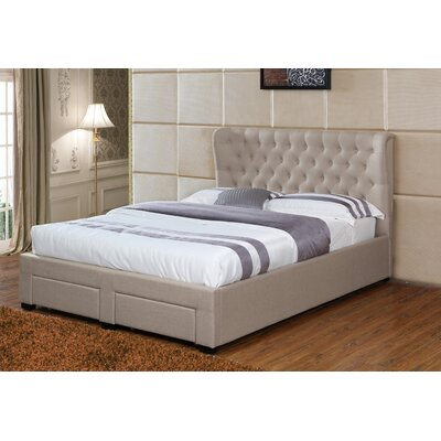 Lourenco Upholstered Storage Platform Bed Size: California King, Color: Khaki