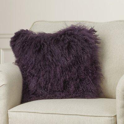 Greer Lamb Fur Throw Pillow Color: Purple