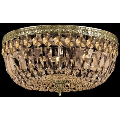 Aureolin 3-Light Flush Mount Size: 7.5 H x 14 W, Finish: Olde Brass, Crystal Type: Golden Teak Swarovski Elements