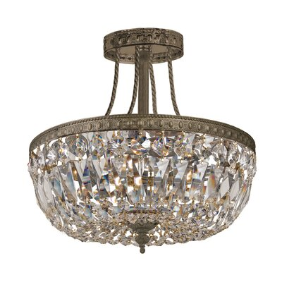 Aureolin 3-Light Semi-Flush Mount Finish: Olde Brass, Crystal Type: Swarovski Elements