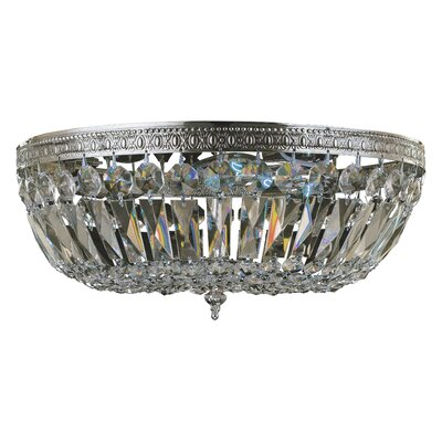 Aureolin 3-Light Crystal Flush Mount Crystal Grade: Hand Cut