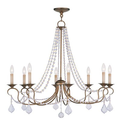 Devana 8-Light Candle-Style Chandelier Finish: Antique Gold Leaf