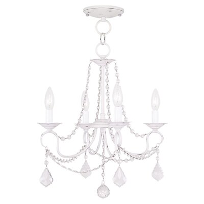 Devana 4-Light Crystal Chandelier Finish: Antique White
